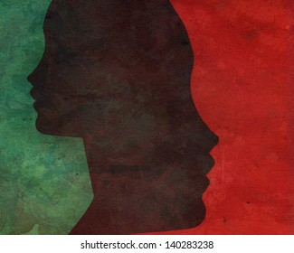 Two faces over red and green background