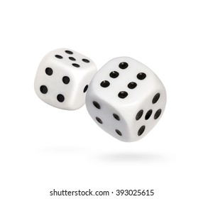 Two falling dice, isolated on White