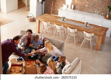Two families spending time together at home