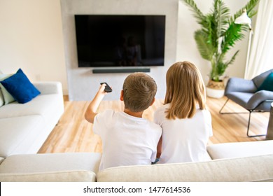 A two family brother and sister holding remote control and watching TV show. Back view