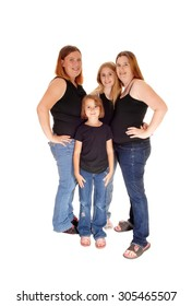 Two family's, two mothers and two daughters standing isolated, all injeans, for white background.