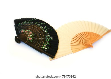 Two fans isolated on white background.