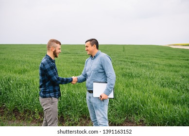 Two farmer standing in a green wheat field and shake hands.