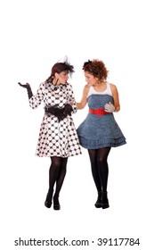Two Fashion girls posing on white background