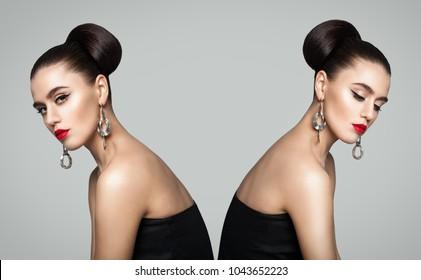 Two Fashion Girls. Twins Portrait