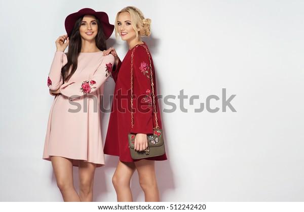 Two fashionable women in nice dresses. Fashion autumn photo