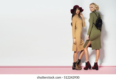 Two fashionable women in sexy dresses. Fashion autumn winter photo