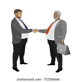 Two fat Business man shaking hands, isolated on white background ,cartoon illustration