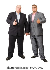 Two fat businessman. Two Businessman White Isolated. Show thumbs up. Like. Two guys in formal suit. Isolated white background. Studio portrait of two fat men in suits.