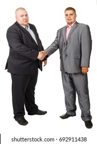 Two fat businessman. Two Businessman White Isolated. Studio portrait of two fat men in suits. Deal. The guys shake hands. Businessmen make a deal. Thick Russian businessmen shake hands.
