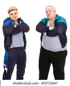 Two fat serious guys. Two serious bandits