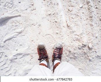 Two feet thick on thick white marble powder