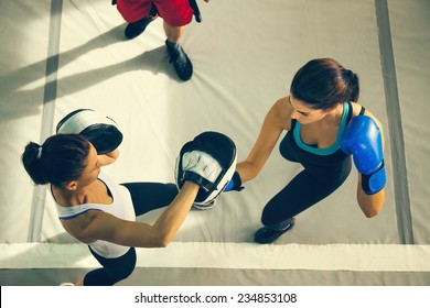 Two Female Boxers Sparring