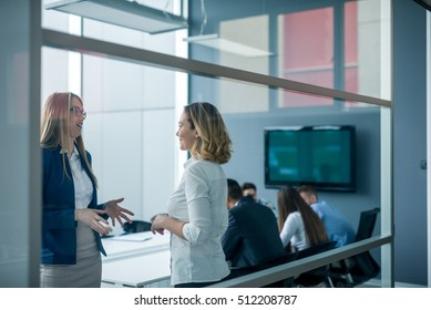 Two female colleagues discussing business in the office.
