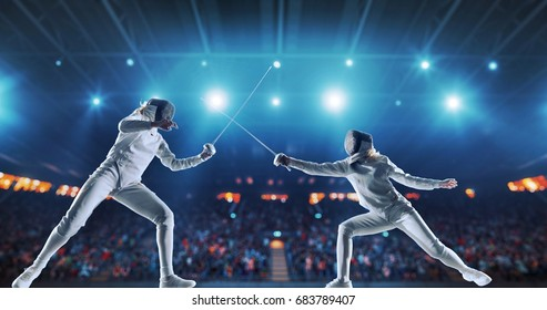 Two female fencing athletes fight on professional sports arena with spectators and lense-flares. Women wear unbranded sports clothes. Arena is made in 3D.