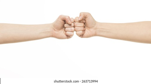 Two female fists hitting each other, isolated on white