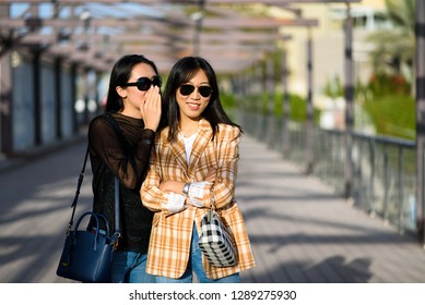 Two female friends sharing secrets on the street
