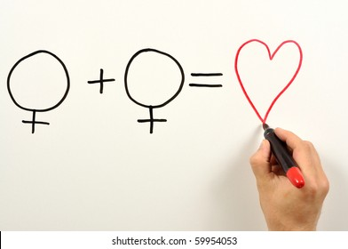 Two female and heart symbols used in a formula