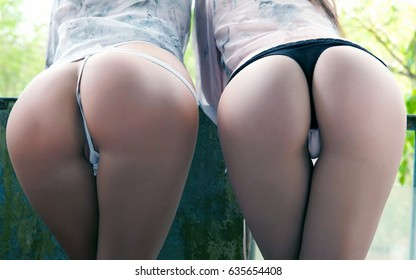 Two female sexy butts, female with sexy ass, girls with big bum posing in underwear