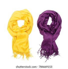 Two female tippet scarf isolated on white background.
