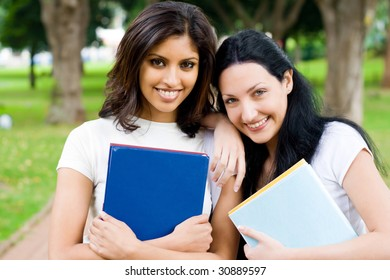 two female university students in campus
