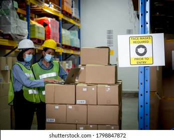 Two female warehouse workers wearing medical protective masks while working are checking orders from customers via phone and computer inside the warehouse. Woman wearing surgical mask for coronavirus