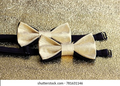 Two festive golden with a black bow tie on a gold background.