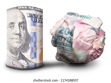 Two fiat money bills standing next to each other. One standing flat and one crumbled symbolizing currency strength and weakness.