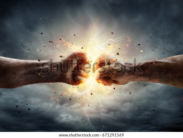 Two Fiery Fists In Impact With Stormy Sky In Background - Conflict Concept