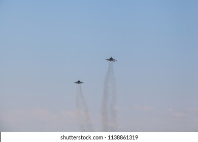 two fighter planes take off, military aircraft