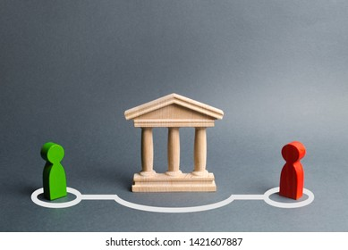 Two figures of people contact in bypassing the state building or bank. Direct negotiations and an agreement to bypass the government or the bank. Illegal deal, tax evasion. Risky lending