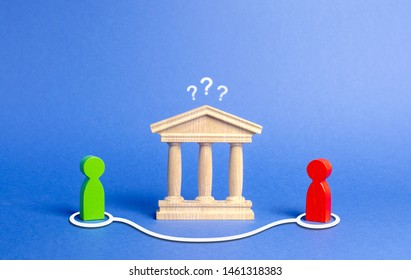 Two figures of people contact in bypassing the state building or bank. Direct negotiations and an agreement to bypass the government or the bank. Illegal deal, tax evasion. libertarian economics