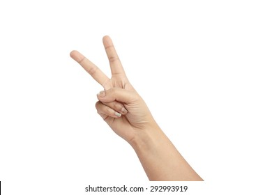 two finger on white background