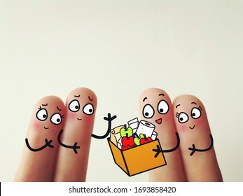 Two fingers are decorated as two person.  Both of them went for grocery shopping.