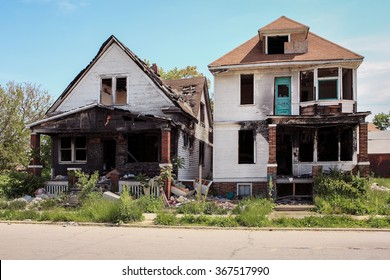 Two fire damaged houses in Detroit, Michigan