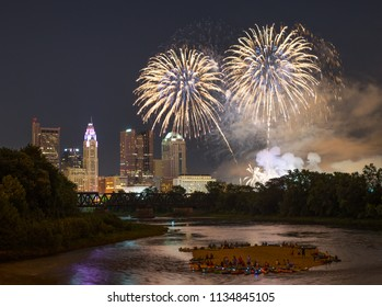 Two fireworks blast over downtown Columbus