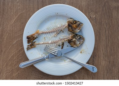 Two fish bone with head and knife and fork on white plate, close up, top view