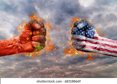 Two fist with the flag of China and USA faced at each other ready for fight