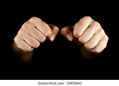 Two fist isolated on black background