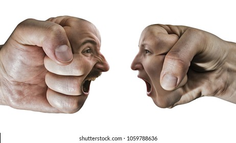 Two fists with a male and female face collide with each other on isolated, white background. Concept of confrontation, competition, family quarrel etc.