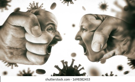 Two fists with man's and woman's face are collide with each other on coronavirus background. Concept of confrontation, domestic violence, family quarrel. Black and white.
