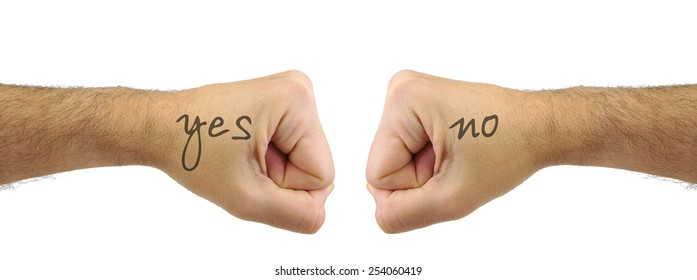 Two fists punching each other with YES NO words. Confrontation gesture. Opposite concept
