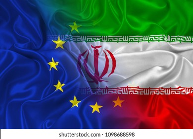 Two flags of Iran and the European Union