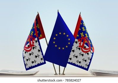 Two flags of Pays de la Loire and European Union flag between