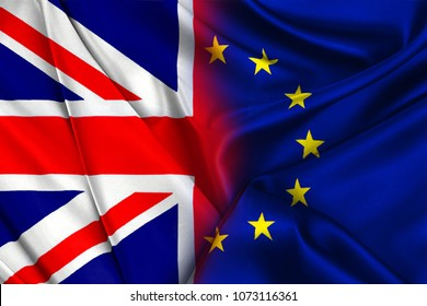 Two flags of the UK and the EU