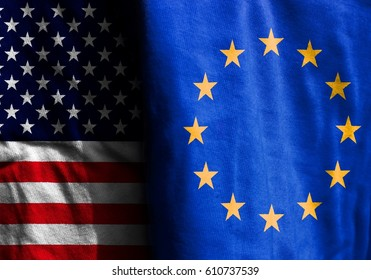 Two flags: the United States and EU
