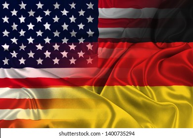 Two flags of USA and Germany