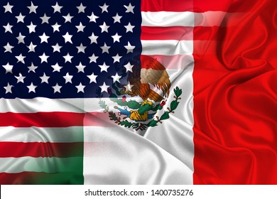 Two flags of USA and Mexico