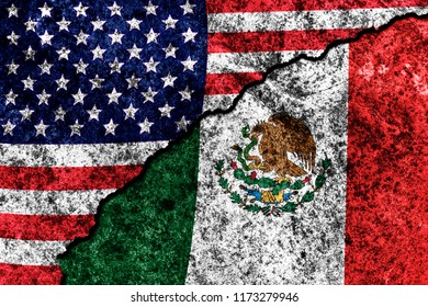 two flags of the USA and Mexico on a cracked concrete wall
