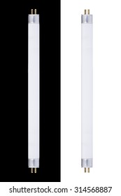 It is Two Fluorescent tubes isolated on white and black.